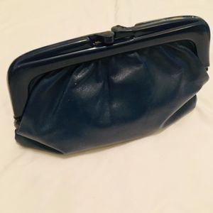 Vintage Navy Blue Genuine Leather Clutch Purse